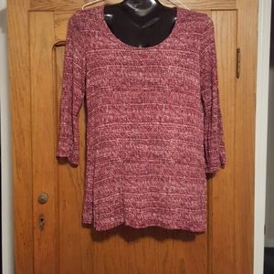 Tunic Top 3/4 Sleeve Pink/Grey/White Patter
